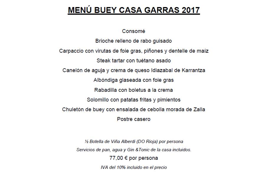 MENÚ BUEY CASA GARRAS 2017